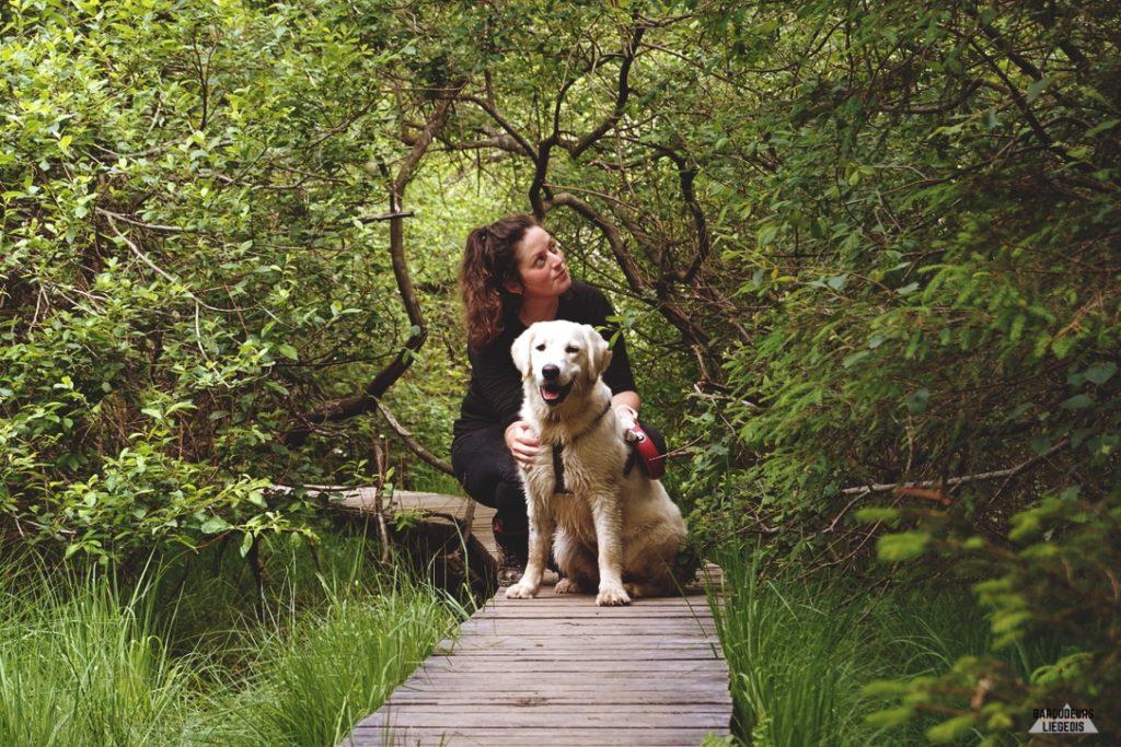 Caillebotis dans les Fagnes  avec chien